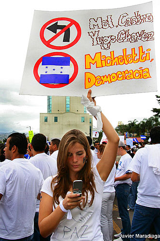 2009 Honduran constitutional crisis - Demonstrators supporting Micheletti.