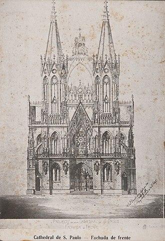São Paulo Cathedral - Image: Projecto da Nova Cathedral de S. Paulo Fachada da Frente Escala 1 200 Cathedral de S. Paulo Fachada de Frente 1, Acervo do Museu Paulista da USP (cropped)