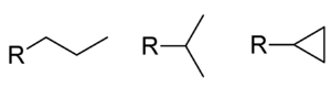 Propyl group - From left to right: the two isomeric groups propyl and 1-methylethyl (iPr or isopropyl), and the non-isomeric cyclopropyl group.