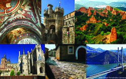 Main sights from the province of León. From left to right: Pantheon of San Isidoro, Ponferrada castle, Las Médulas, Astorga, Castrillo de los Polvazares, Barrios de Luna Reservoir.