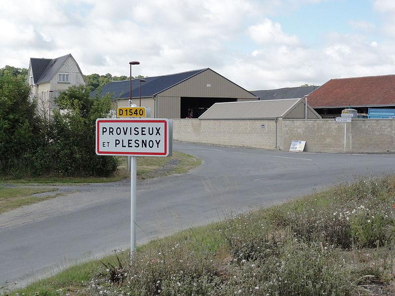 Proviseux-et-Plesnoy (Aisne) city limit sign Proviseux