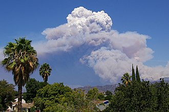 Station Fire (2009) - Pyrocumulus cloud from the Station Fire, seen from North Hollywood