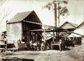 Queensland State Archives 2236 Arrowroot Mill with three workers shed and wagon Coomera River 1897.png