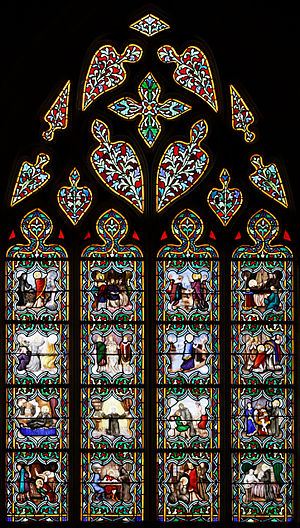 Anselm of Canterbury - The life of St Anselm told in 16 medallions in a stained-glass window in Quimper Cathedral, Brittany, in France