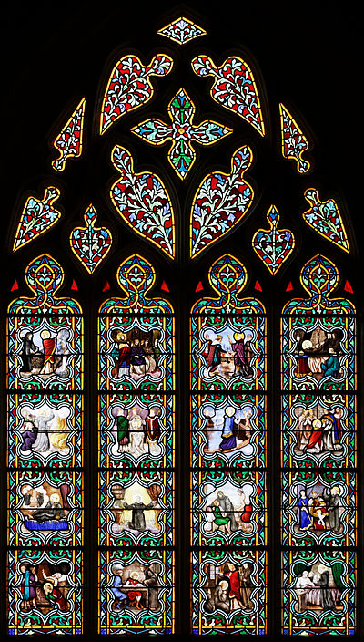 The life of St Anselm told in 16 medallions in a stained-glass window in Quimper Cathedral, Brittany, in France Quimper - Cathedrale Saint-Corentin - PA00090326 - 025.jpg