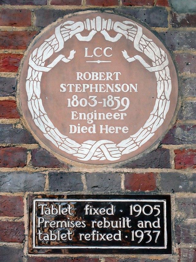 Robert Stephenson brown plaque - Robert Stephenson (1803-1859), engineer, died here.