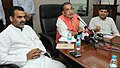 Radha Mohan Singh briefing the media at the launch of a website of Multi-State Cooperative Societies, in New Delhi. The Ministers of State for Agriculture.jpg