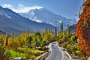 The 7,788 metre (25,551 ft) tall Rakaposhi mountain towers over Hunza