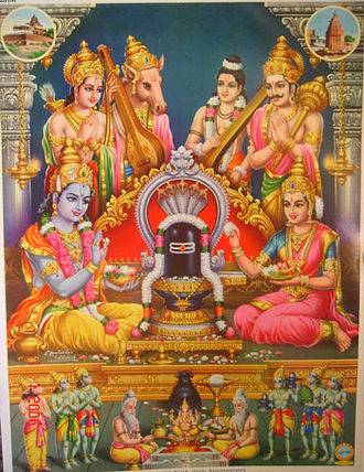 Vibhishana - Rama and Sita worship god Shiva at Rameshwaram as Vibhishana (right) looks on with Lakshamana, Tumburu and Narada