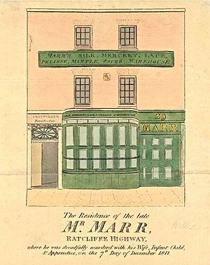 Ratcliff Highway murders - Newspaper sketch of the Marr mercer shop and residence