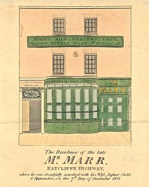File:Ratcliff Highway Murders - newspaper sketch of the Marr mercer shop and residence.jpg