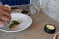 Raw Norwegian scallop, grilled sweet peas, Verbana (27169737721).jpg