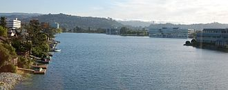 Redwood Shores, California - A Redwood Shores waterway/lagoon with hills of Belmont, California in background