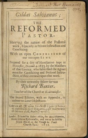 Richard Baxter - Title page of a 1657 edition of The Reformed Pastor.