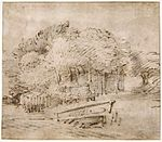 Rembrandt Farmhouse beneath Trees, with a Footbridge.jpg