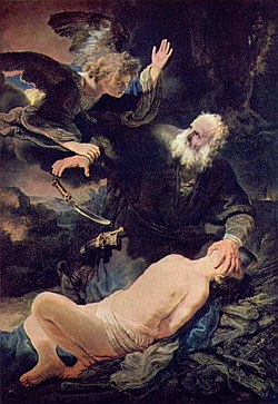 An angel prevents the sacrifice of Isaac. Abraham and Isaac