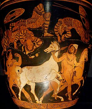 Rhesus (play) - Odysseus and Diomedes stealing Rhesus' horses, red-figure situla by the Lycurgus Painter, ca. 360 BC.