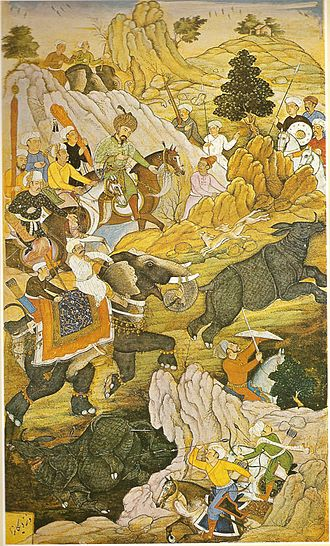 Baburnama - An image of Rhino hunt from Baburnama.