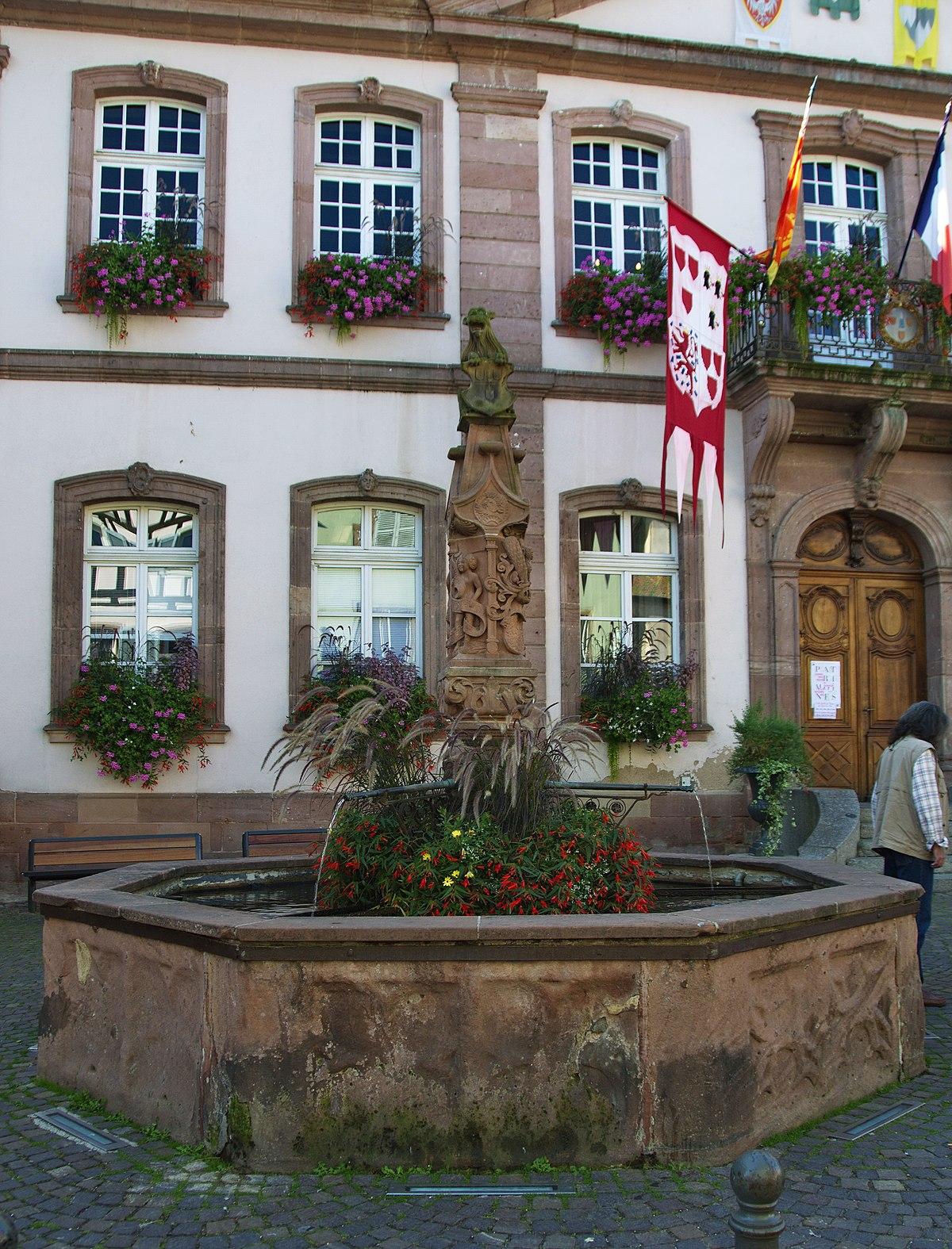 Fontaine de ribeauvill place de l 39 h tel de ville for Piscine de ribeauville