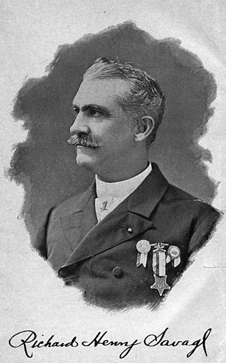 Richard Henry Savage - Portrait and signature as published in 1894