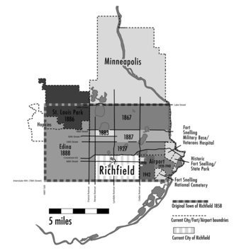 Richfield, Minnesota - Map showing land annexations and Richfield's original borders as a town in 1854 and present day borders as a city.