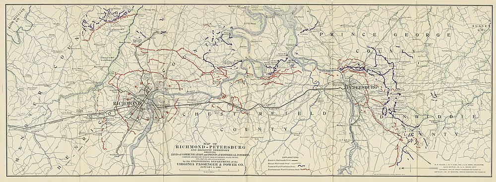 Map of Richmond and Petersburg showing Communication Lines.