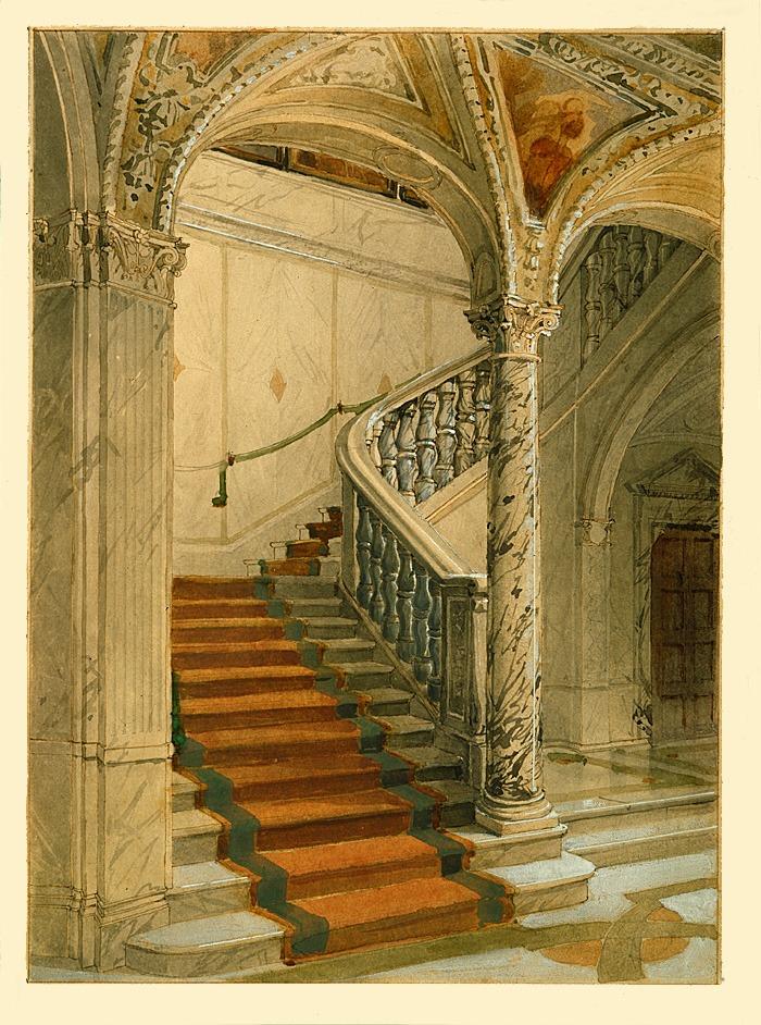 Perspektivritning av nedre och av övre vestibulen i Hallwylska museet.