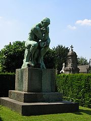 Auguste Rodin's The Thinker, bronze cast by Alexis Rudier, Laeken Cemetery, Brussels, Belgium.