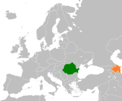 Map indicating locations of Romania and Azerbaijan