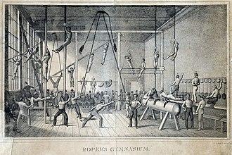 Exercise - Roper's gymnasium, Philadelphia, circa 1831.