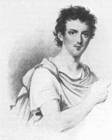 Giovanni David als Ilo in Rossinis Oper Zelmira. Stich von Leopold Beyer, Kärntnertortheater Wien 1822 (Quelle: Wikimedia)