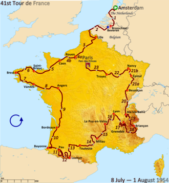 1954 Tour de France - Route of the 1954 Tour de France followed counterclockwise, starting in Amsterdam and finishing in Paris