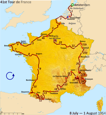 Route of the 1954 Tour de FranceFollowed counterclockwise, starting in Amsterdam and finishing in Paris