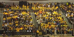 "VCU Rams - ""Rowdy Ram"" student fans cheer on the men's basketball team."