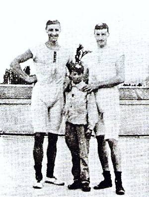 Rowing at the 1900 Summer Olympics - François Brandt (left), Roelof Klein and their coxswain, an unknown French boy, after the coxed pair final at the 1900 Olympics