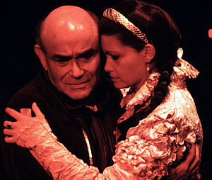 Edward III (play) - Alex Peckman as the Earl of Warwick and Julie Hughett as Countess of Salisbury in the Carmel Shakespeare Festival production of Edward III, August, 2001.