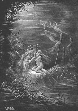 Slavic water spirits - A Rusalka and her daughter, by I. Volkov, 1899.