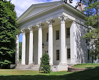 Wesleyan University - The Samuel Wadsworth Russell House, home to the Philosophy department. The building was designated a national Historic Landmark in 2001 and is considered one of the finest examples of domestic Greek Revival architecture.
