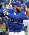 Russell Martin takes batting practice before the AL Wild Card Game. (30071397681).jpg