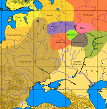 Una mappa approssimativa delle culture nella Russia europea al momento dell'arrivo dei variaghi