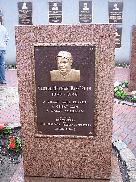 Tribute to Babe Ruth, Monument Park, as seen at the original Yankee Stadium RuthMonument.jpg