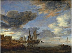 Salomon van Ruysdael: Sailing Ships near a Village
