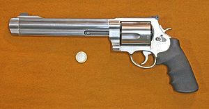 .500 S&W Magnum - The first revolver which could accommodate the large 500 magnum cartridge was the massive Smith & Wesson Model 500. Euro coin pictured for scale. (An American quarter is similar in size.)