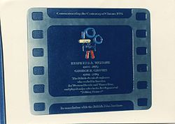 Photo of Stanley S. A. Watkins and George R. Groves film cell plaque