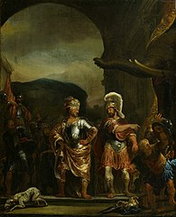 The calm Fabricius in the army camp of Pyrrhus