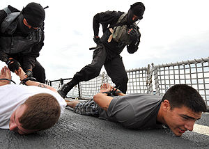 PASKAL - PASKAL operators search and flex-cuff 'suspects' during a boarding exercise aboard the US Coast Guard cutter (USCGC) Mellon (WHEC 717) as part of Southeast Asia Cooperation Against Terrorism (SEACAT) 2010.