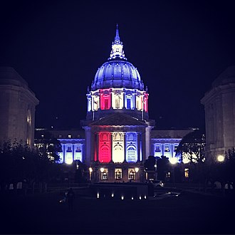 Election Day (United States) - San Francisco City Hall illuminated in special red, white, and blue LED lighting at night on November 6, 2018 to commemorate Election Day all around the United States