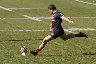 Luke McAlister - McAlister kicking a conversion for Toulouse against Castres on 10 March 2012