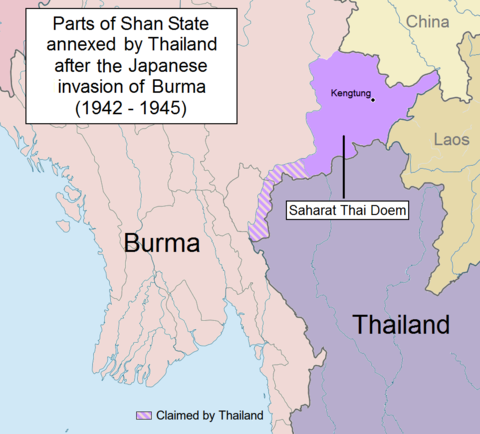 Saharat Thai Doem map (1942-1945) and claims of Thailand in British Burma Saharat Thai Doem map.png