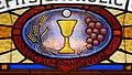 Saint Joseph's Catholic Church (Central City, Kentucky) - stained glass, portal tympanum detail, I AM the bread of life.jpg